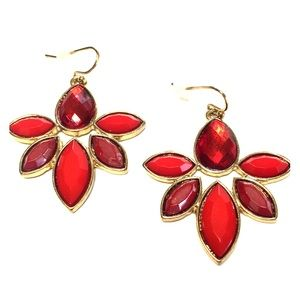 Red earrings gold metal NEW